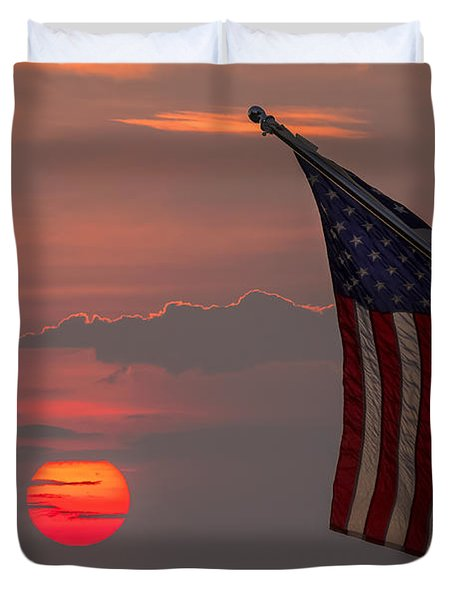 Patriotic Sunset Duvet Cover by Mark Papke
