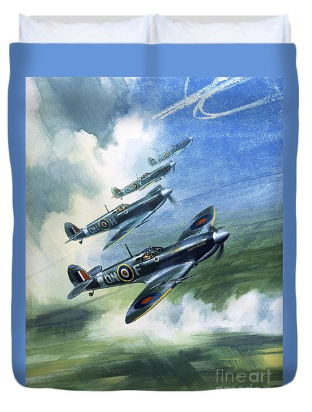 Patrolling Flight Of 416 Squadron, Royal Canadian Air Force, Spitfire Mark Nines Duvet Cover by Wilf Hardy