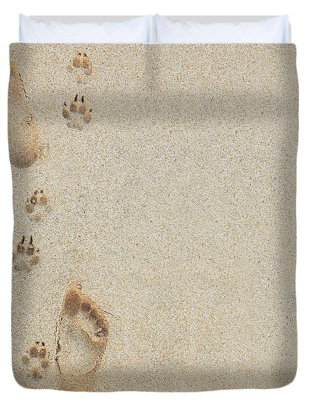 Paw and Footprints 2 Duvet Cover by Brandon Tabiolo - Printscapes