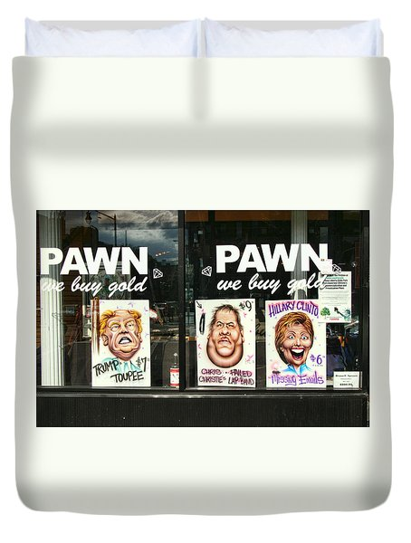 Pawn Shop Humor Duvet Cover by Allen Beatty