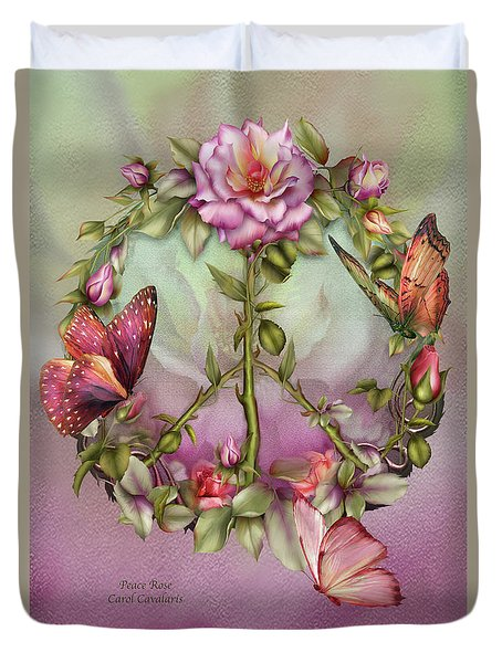 Peace Rose Duvet Cover by Carol Cavalaris