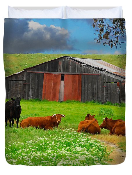 Peaceful Cows Duvet Cover by Harry Spitz
