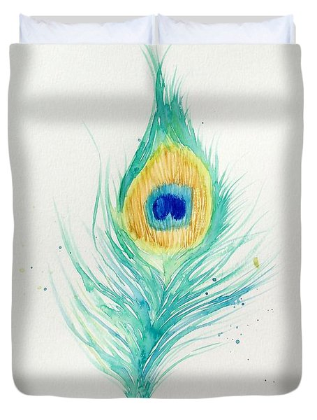 Peacock Feather 2 Duvet Cover by Oddball Art Co by Lizzy Love