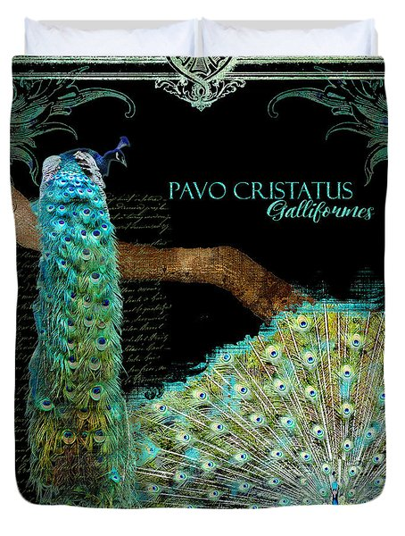 Peacock Pair On Tree Branch Tail Feathers Duvet Cover by Audrey Jeanne Roberts