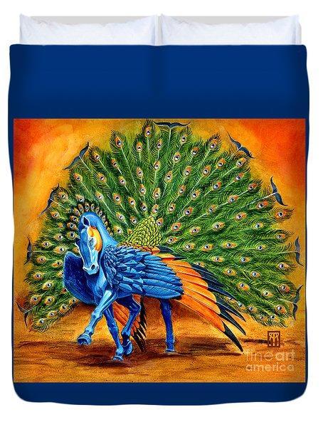 Peacock Pegasus Duvet Cover by Melissa A Benson