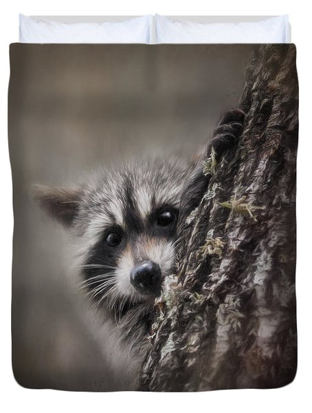 Peekaboo Raccoon Art Duvet Cover by Jai Johnson