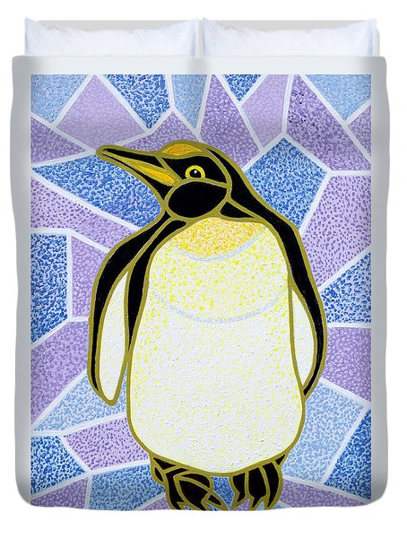 Penguin On Stained Glass Duvet Cover by Pat Scott