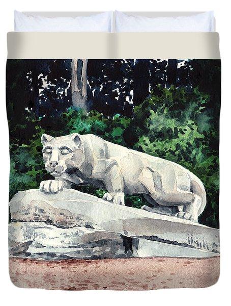 Penn State Nittany Lion Shrine University Happy Valley Joe Paterno Duvet Cover by Laura Row