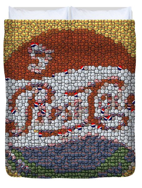 Pepsi Bottle Cap Mosaic Duvet Cover by Paul Van Scott