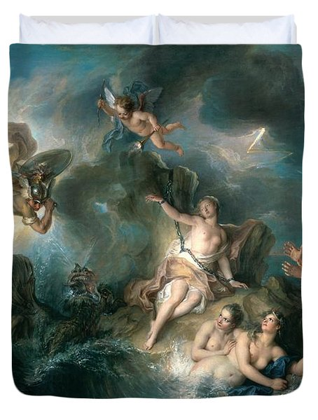 Perseus Rescuing Andromeda Duvet Cover by Charles Antoine Coypel