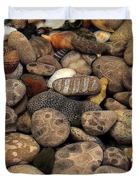 Petoskey Stones With Shells L Duvet Cover by Michelle Calkins