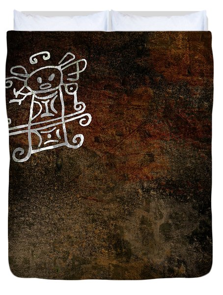 Petroglyph 8 Duvet Cover by Bibi Romer