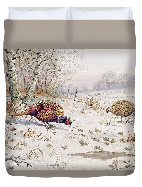 Pheasant And Partridge Eating  Duvet Cover by Carl Donner