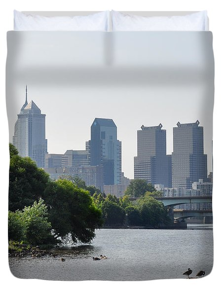 Philadelphia Along The Schuylkill River Duvet Cover by Bill Cannon