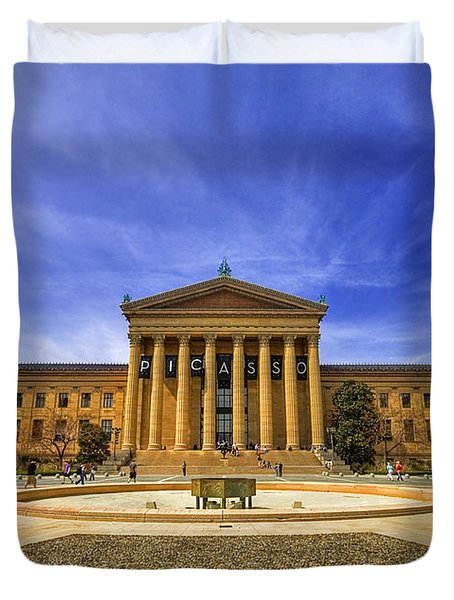 Philadelphia Art Museum Duvet Cover by Evelina Kremsdorf