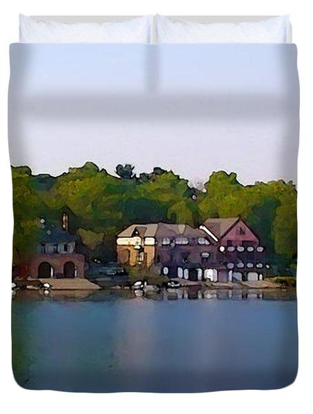 Philadelphia Boat House Row Duvet Cover by Bill Cannon