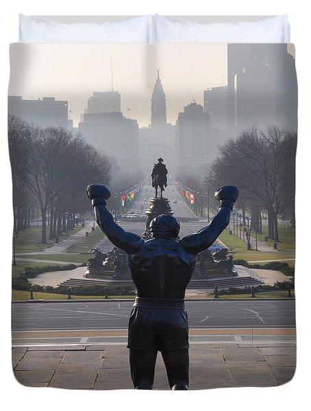 Philadelphia Champion - Rocky Duvet Cover by Bill Cannon