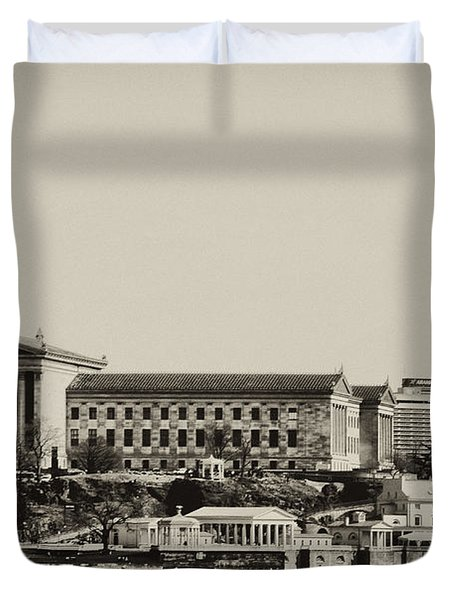 Philadelphia Museum of Art and the Fairmount Waterworks From West River Drive in Black and White Duvet Cover by Bill Cannon