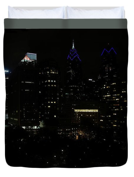 Philadelphia Night Lights Duvet Cover by Rona Black