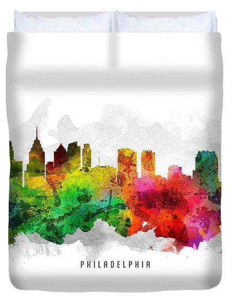 Philadelphia Pennsylvania Cityscape 12 Duvet Cover by Aged Pixel