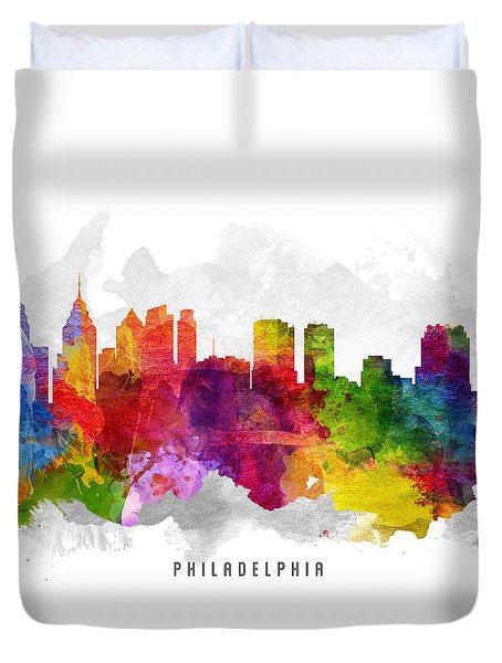 Philadelphia Pennsylvania Cityscape 13 Duvet Cover by Aged Pixel