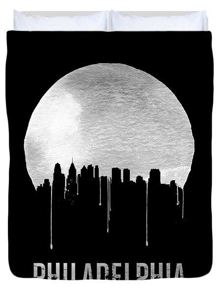Philadelphia Skyline Black Duvet Cover by Naxart Studio