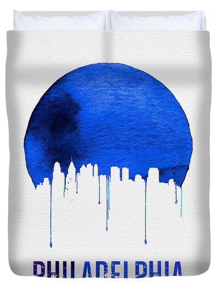 Philadelphia Skyline Blue Duvet Cover by Naxart Studio