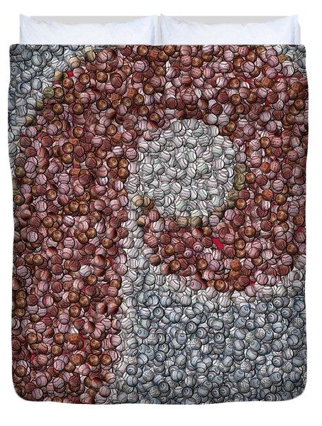 Philidelphia Phillies Baseballs Mosaic Duvet Cover by Paul Van Scott