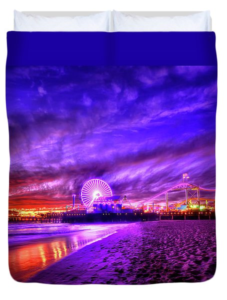 Pier Of Lights Duvet Cover by Midori Chan