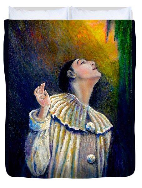Pierrot's Peering Into The Light Duvet Cover by Michael Durst