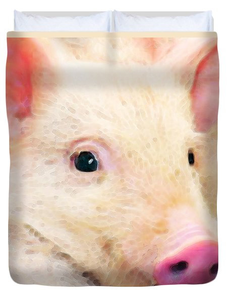 Pig Art - Pretty In Pink Duvet Cover by Sharon Cummings