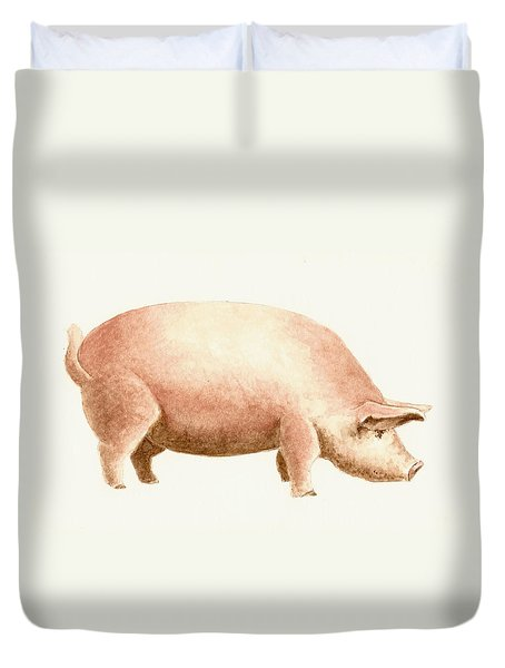 Pig Duvet Cover by Michael Vigliotti