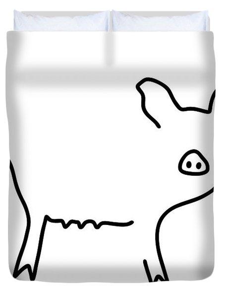 Pig Piglet Make A Mess Duvet Cover by Lineamentum
