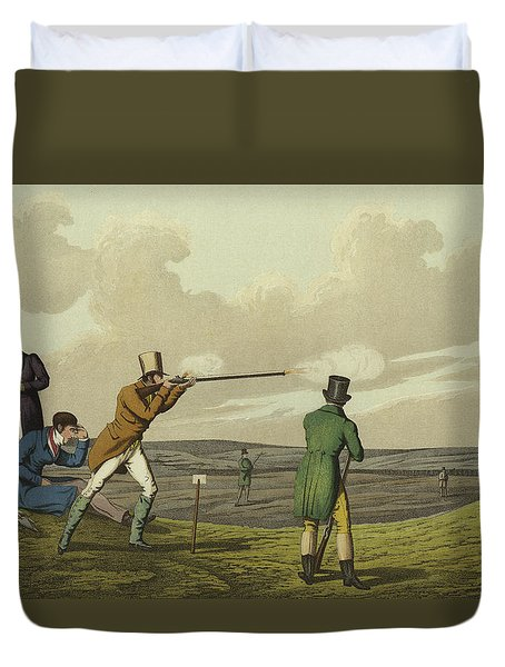 Pigeon Shooting Duvet Cover by Henry Thomas Alken