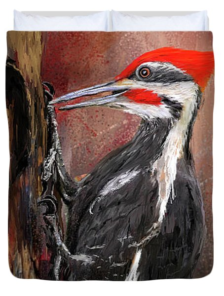 Pileated Woodpecker Art Duvet Cover by Lourry Legarde