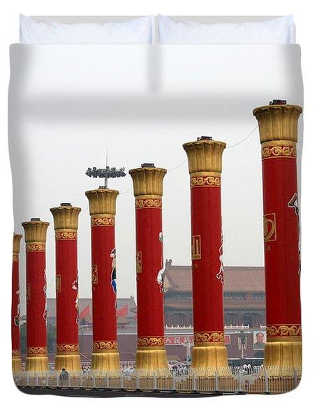 Pillars at Tiananmen Square Duvet Cover by Carol Groenen