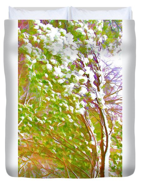 Pine Tree Covered With Snow Duvet Cover by Lanjee Chee