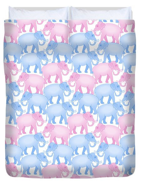 Pink And Blue Elephant Pattern Duvet Cover by Antique Images