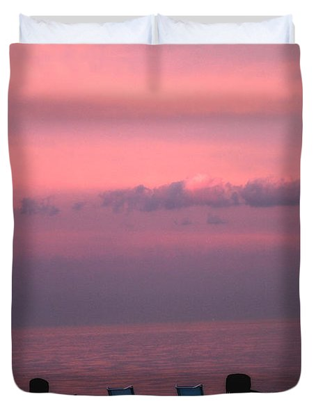 Pink and Deserted Duvet Cover by Karol  Livote