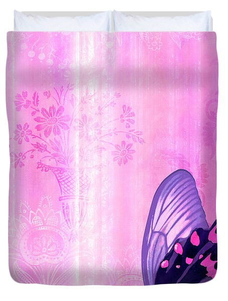 Pink and Purple Butterfly Companions 2 Duvet Cover by JQ Licensing