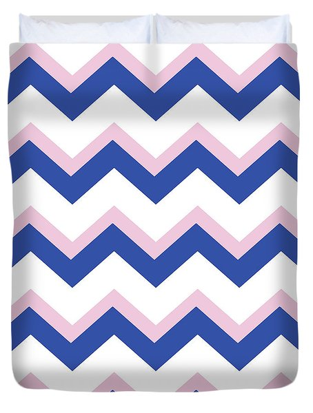 Pink Blue Chevron Pattern Duvet Cover by Christina Rollo