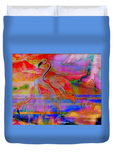 Pink Flamingos Duvet Cover by WBK