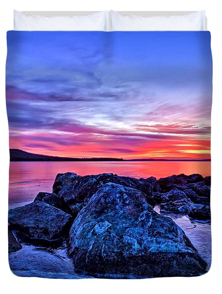 Pink Ice at Dawn Duvet Cover by Bill Caldwell -        ABeautifulSky Photography