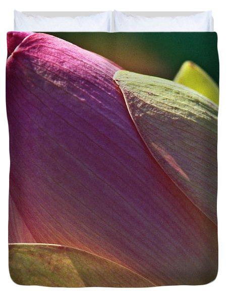 Pink Lotus Bud Duvet Cover by Heiko Koehrer-Wagner