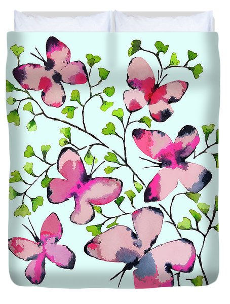 Pink Profusion Butterflies Duvet Cover by Roleen Senic