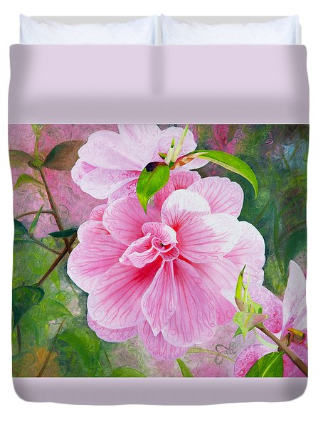 Pink Swirl Garden Duvet Cover by Shelley Irish