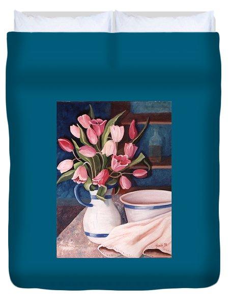 Pink Tulips Duvet Cover by Renate Nadi Wesley