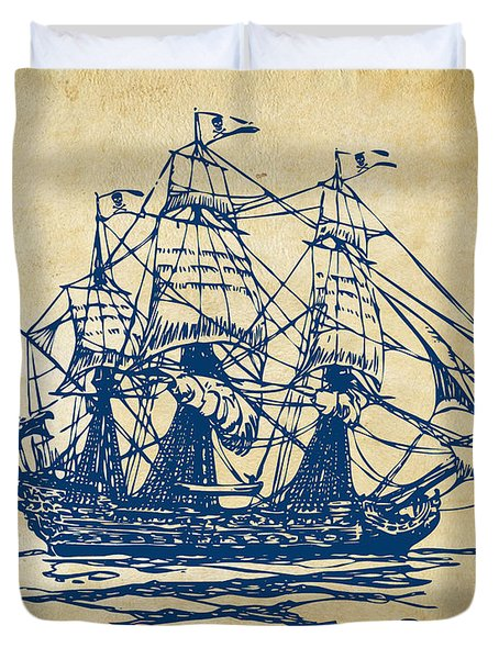Pirate Ship Artwork - Vintage Duvet Cover by Nikki Marie Smith