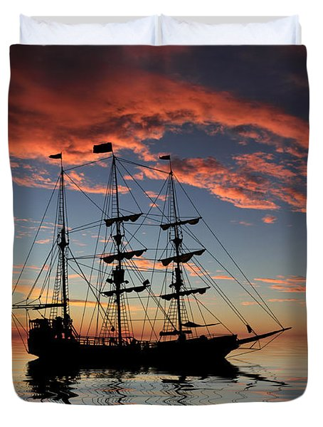 Pirate Ship At Sunset Duvet Cover by Shane Bechler