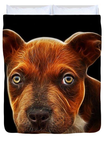 Pitbull Puppy Pop Art - 7085 Bb Duvet Cover by James Ahn